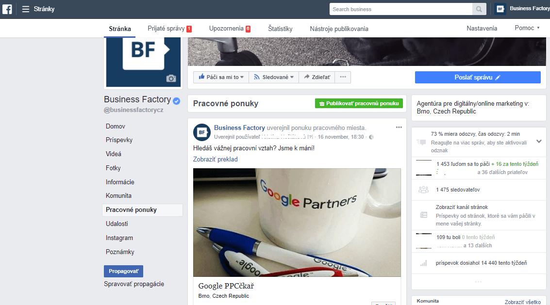 """72df2254f0a78 Stačí prejsť na správu stránky do Business Managera a kliknúť na """"Pracovné  ponuky"""" (Jobs) v ľavom stĺpci. Hneď potom kliknite na """"Publikovať pracovnú  ..."""