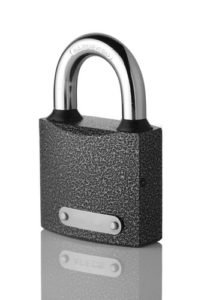 Closed padlock with clear metal plate isolated on white background