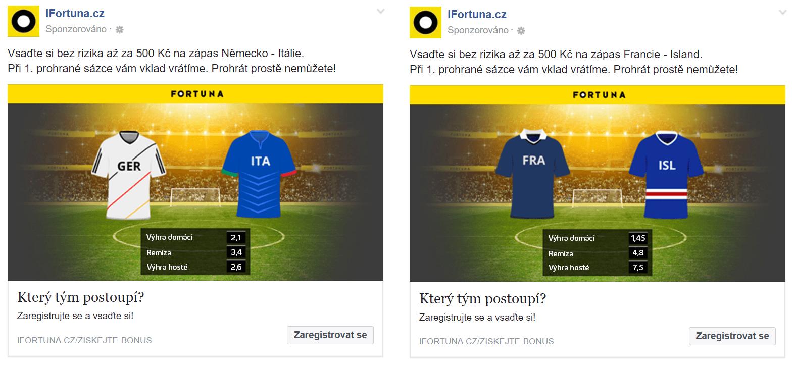 Reklamy s dynamickými prvky načtenými z feedu.