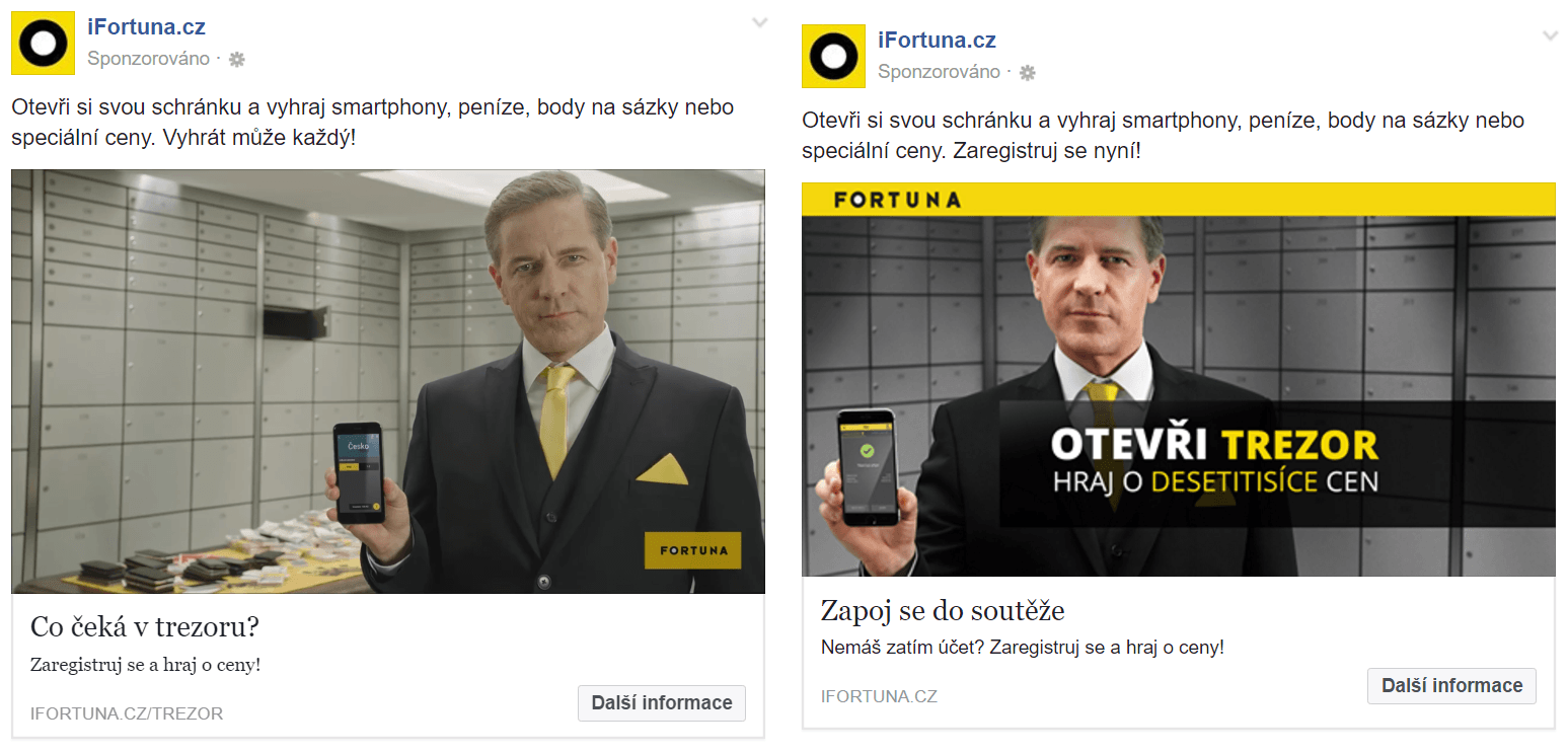 """Podpoření TV reklamy na akci """"Fortuna trezor""""."""